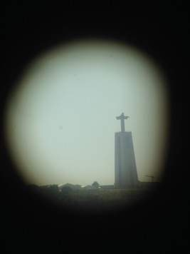 View from one of their telescopes. Cristo Rei
