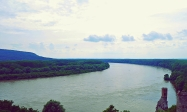 View over the Danube and Austria from Devin Castle
